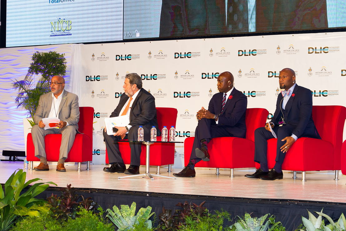 DLIC Panel Discussion (L-R: Dr. Didacus Jules, Director General of the OECS Commission; Hon. Dr. Ralph Gonzalves, Prime Minister of St Vincent and the Grenadines; Hon. Myron V. Walwyn, Minister of Education and Culture, British Virgin Islands; Hon. Michael Browne, Minister of Education Science and Technology, Antigua and Barbuda; and Sir Ken Robinson (contributing virtually.)