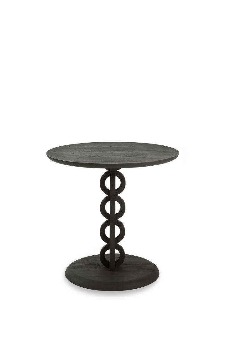 Teak Totem side table - black