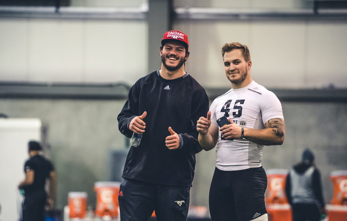 Prospect Matt Singleton with brother Alex Singleton (Stampeders) at the CFL Combine presented by adidas. Photo credit: Johany Jutras/CFL