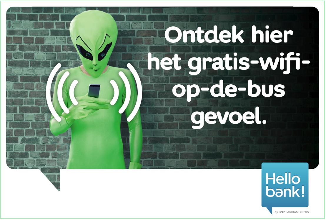 Gratis surfen op de bussen van De Lijn: affiche waaraan je een wifibus herkent.