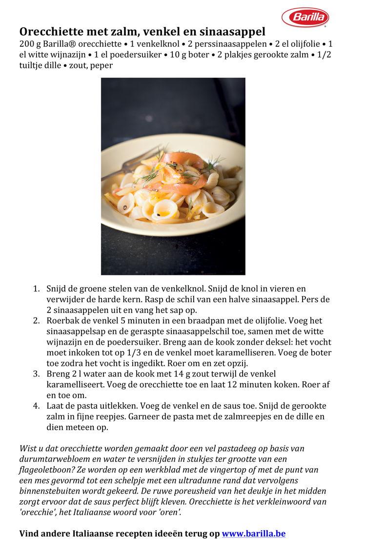 Recept Orecchiette met zalm, venkel en sinaasappel
