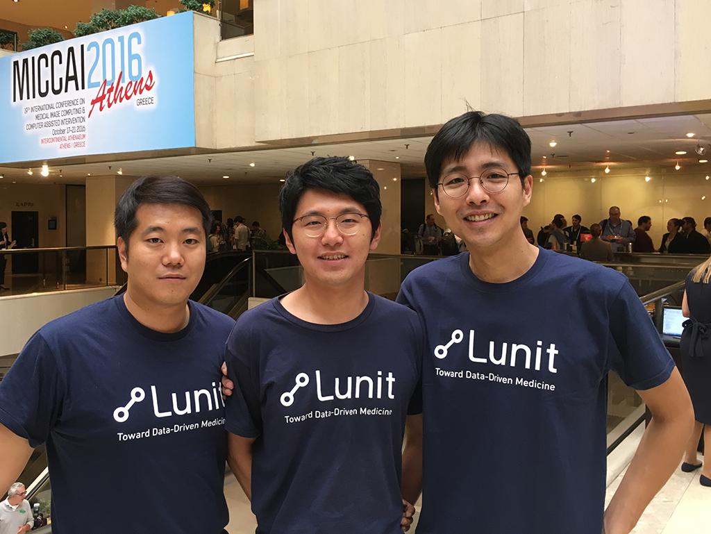 Lunit's researchers at the challenge venue: Sunggyun Park, Kyunghyun Paeng and Sangheum Hwang (from left)