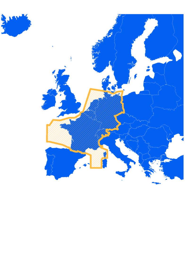 L'espace aérien du FABEC : 1,7 million de km2; 5,8 millions de vols contrôlés par an; 14 centres de contrôle (Area Control Centers); 88 aéroports
