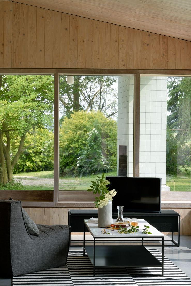 26879 Oak black Monolit TV cupboard & 20232 N701 1 seater dark grey & 60074 Stone coffee table