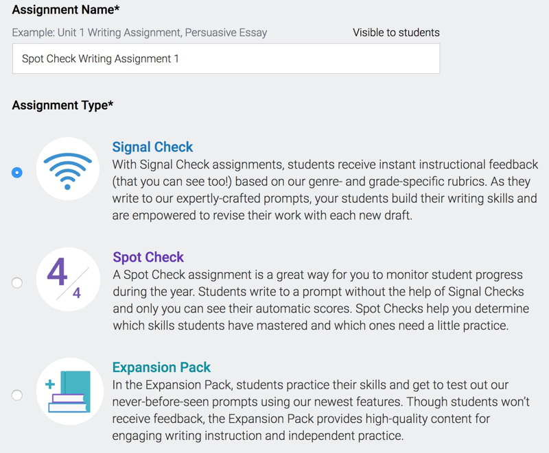 Turnitin Revision Assistant adds Spotlight,which provides a fast, formative snapshot of student writing performance. Instructors can assign informative, argumentative, analysis, and narrative prompts aligned with rigorous writing standards.
