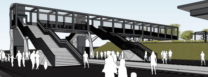 In het station komt een nieuwe voetgangersbrug, met liften en trappen naar elk perron.