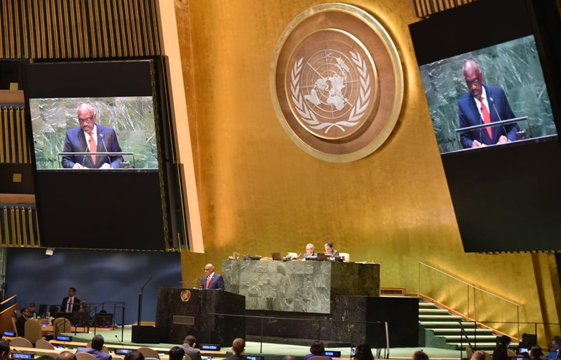 The Most Hon. Dr. Hubert Minnis Prime Minister of the Commonwealth of the Bahamas addresses the general debate of the 74th Session of the UN General Assembly