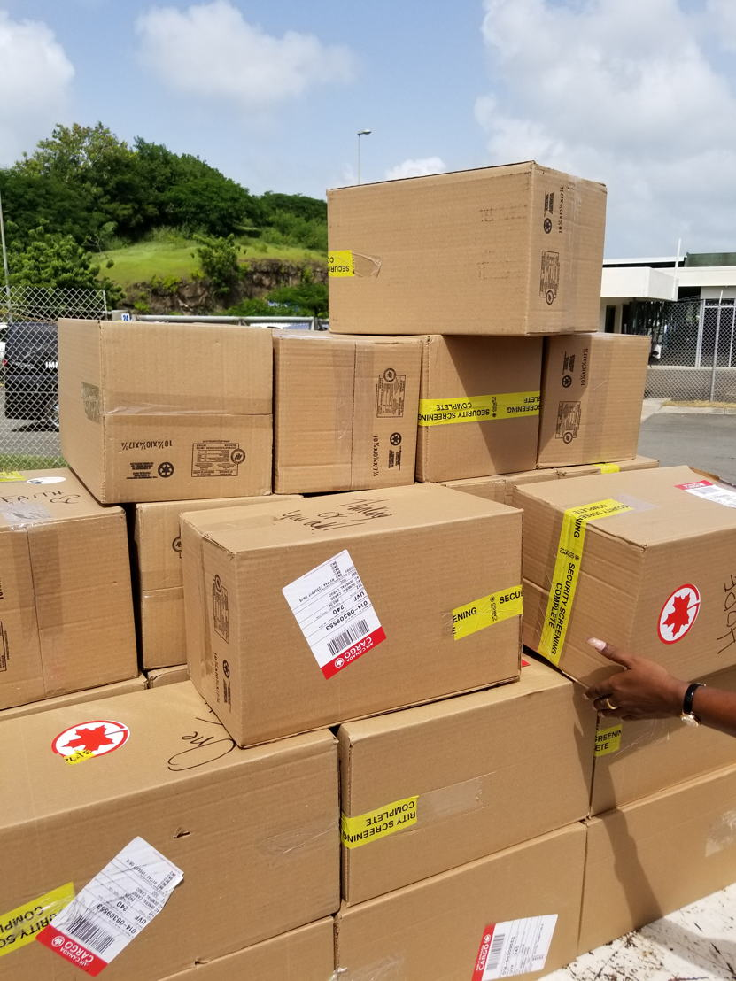Shipment from Canada for BVI Hygiene Kits
