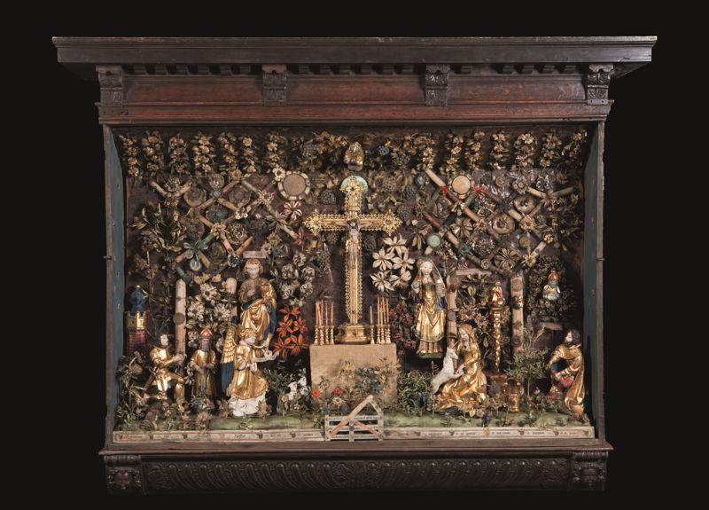 Op zoek naar Utopia © Besloten Hofje met Calvarie en Jacht op de Eenhoorn, Mechelen, ca. 1500–1530. Musea en Erfgoed Mechelen – Collectie Gasthuiszusters. (Kik-irpa, Brussel)