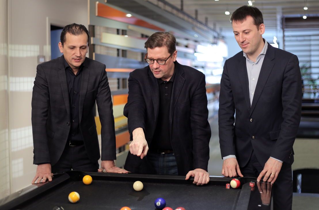 Emakina Group Management, with CEO's Karim Chouikri and Brice le Blévennec and CFO Frédéric Desonnay