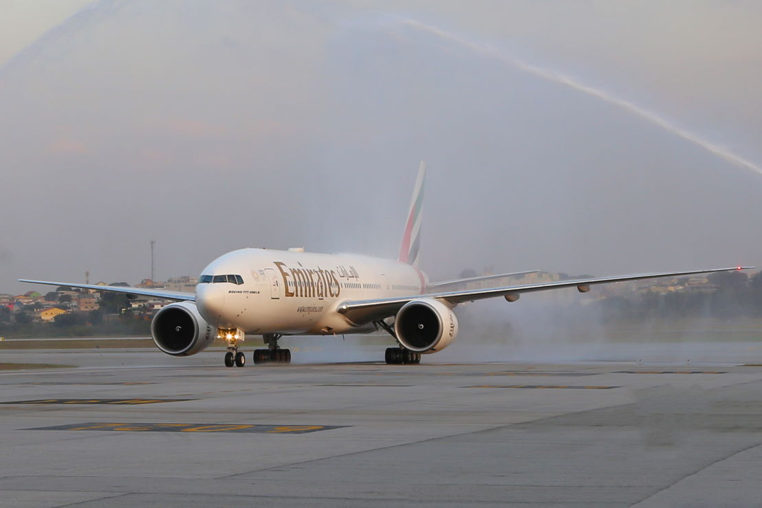 The inaugural Boeing 777-200LR flight was welcomed at São Paulo–Guarulhos International Airport with a water cannon salute.