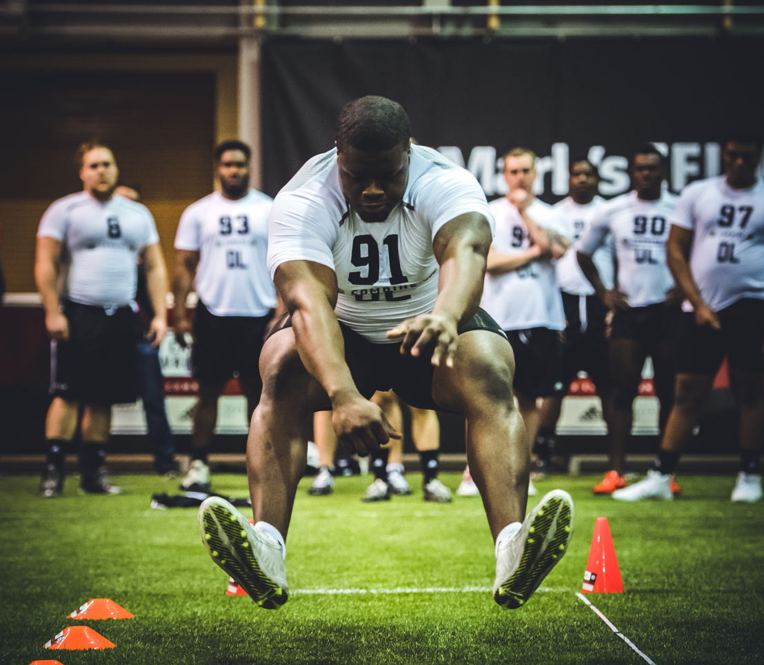 Fabion Foote at the CFL Combine presented by adidas. Photo credit: Johany Jutras/CFL