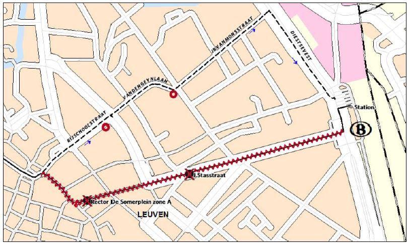 Omleiding alle andere lijnen centrum richting station (m.u.v. lijnen 2 en 539)