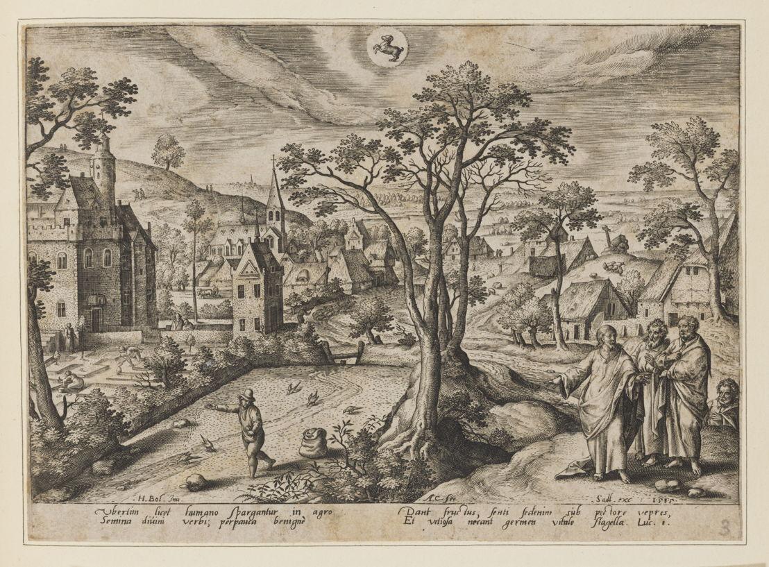 Estampe du mois d'avril, d'après le dessin préparatoire de Hans Bol