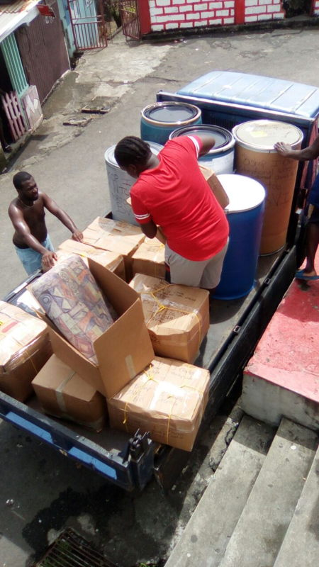 Relief supplies being loaded destined for the BVI
