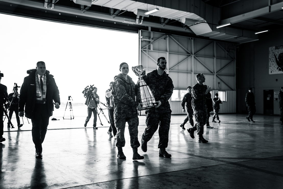 The Grey Cup entering the 408 Squadron Hangar 2 at Canadian Forces Base Edmonton. Photo credit: Johany Jutras/CFL.ca