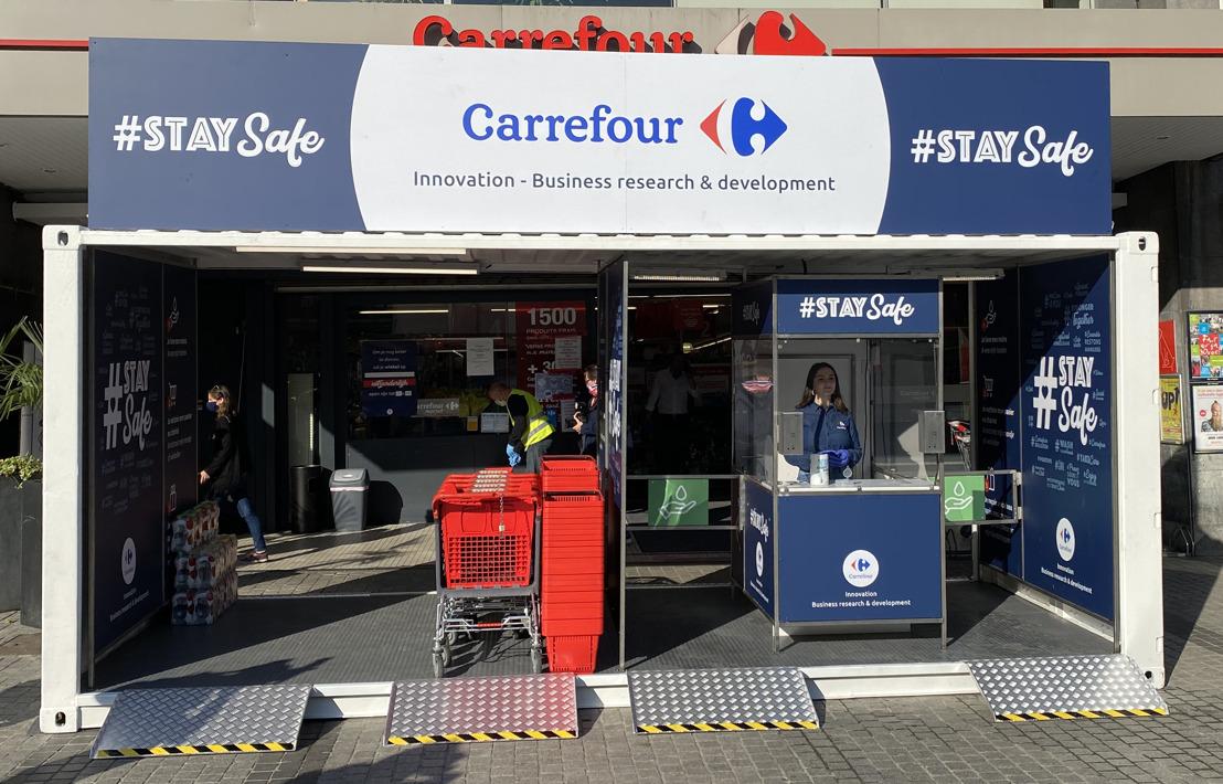 Inauguration de la 1ère unité mobile de désinfection au Carrefour Market Jourdan