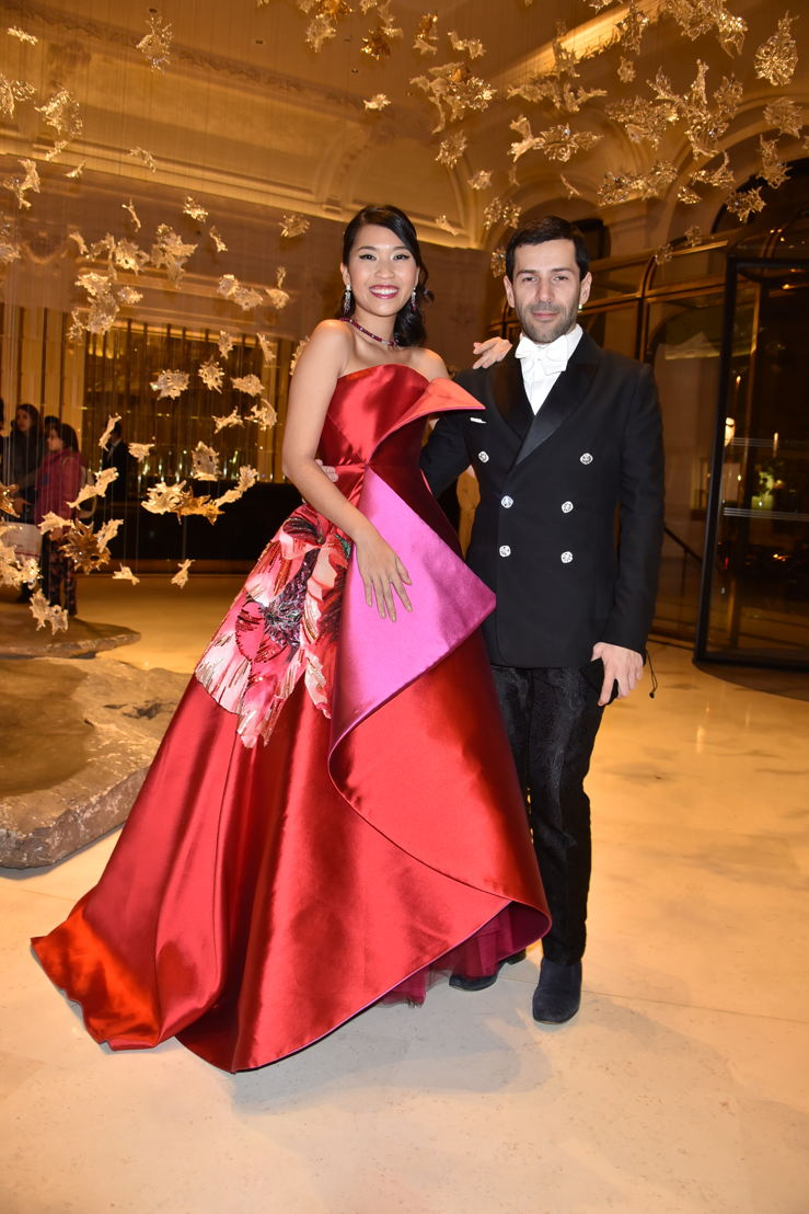Nam Phuong Dinh Thi (in Alexis Mabille HC and jewlery by Payal New York) and her designer Alexis Mabille, Photo by Jean Luce Huré