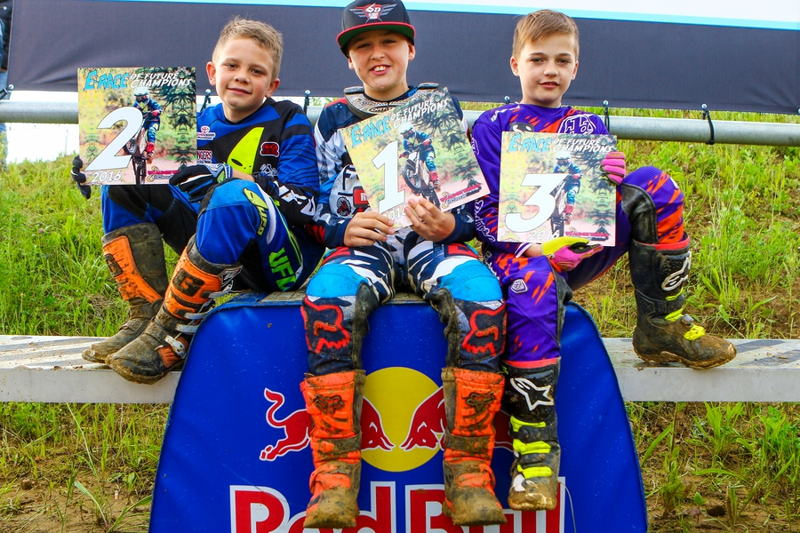 E-MX Race of future champions podium, left to right: Yoran Moens, Liam Everts, Troy Verburgh