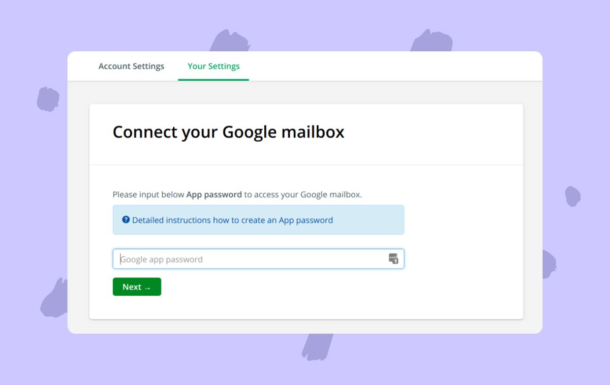 Create app password to access your Google mailbox