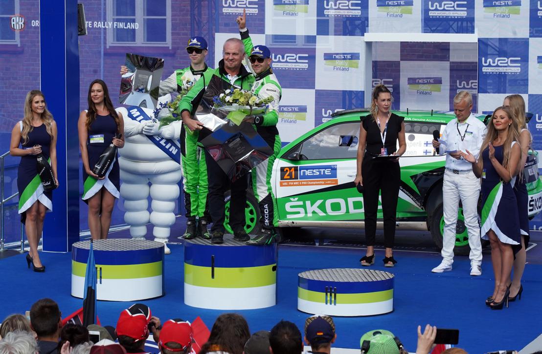 Neste Rally Finland: ŠKODA FABIA R5 evo driver Rovanperä wins WRC 2 Pro category at home game