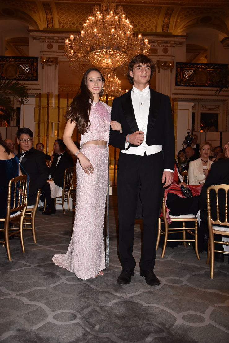 Olympia Taittinger (in Chanel HC and jewelry by Payal New York) with her cavalier Marquis Filippo del Gallo di Roccagiovine, Photo by Jean Luce Huré