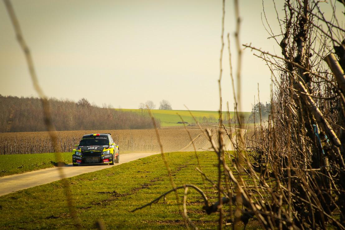 Sébastien Bedoret op het podium van de Haspengouw Rally