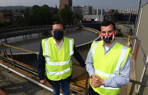 Le bourgmestre de Liège, Willy Demeyer, visite la station d'épuration de la brasserie de Jupille à l'occasion de la Journée mondiale de l'environnement