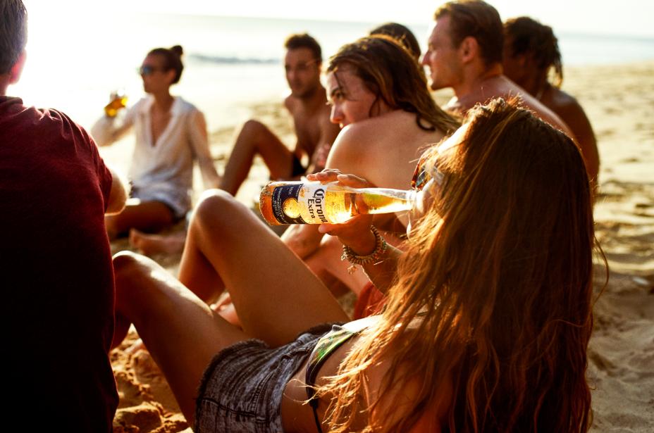 Girl drinking Corona