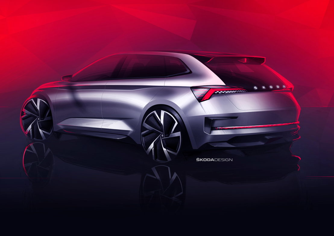 The ŠKODA VISION RS is 4,356 millimetres long and 1,810<br/>millimetres wide, with a height of just 1,431 millimetres and a<br/>wheelbase of 2,650 millimetres.