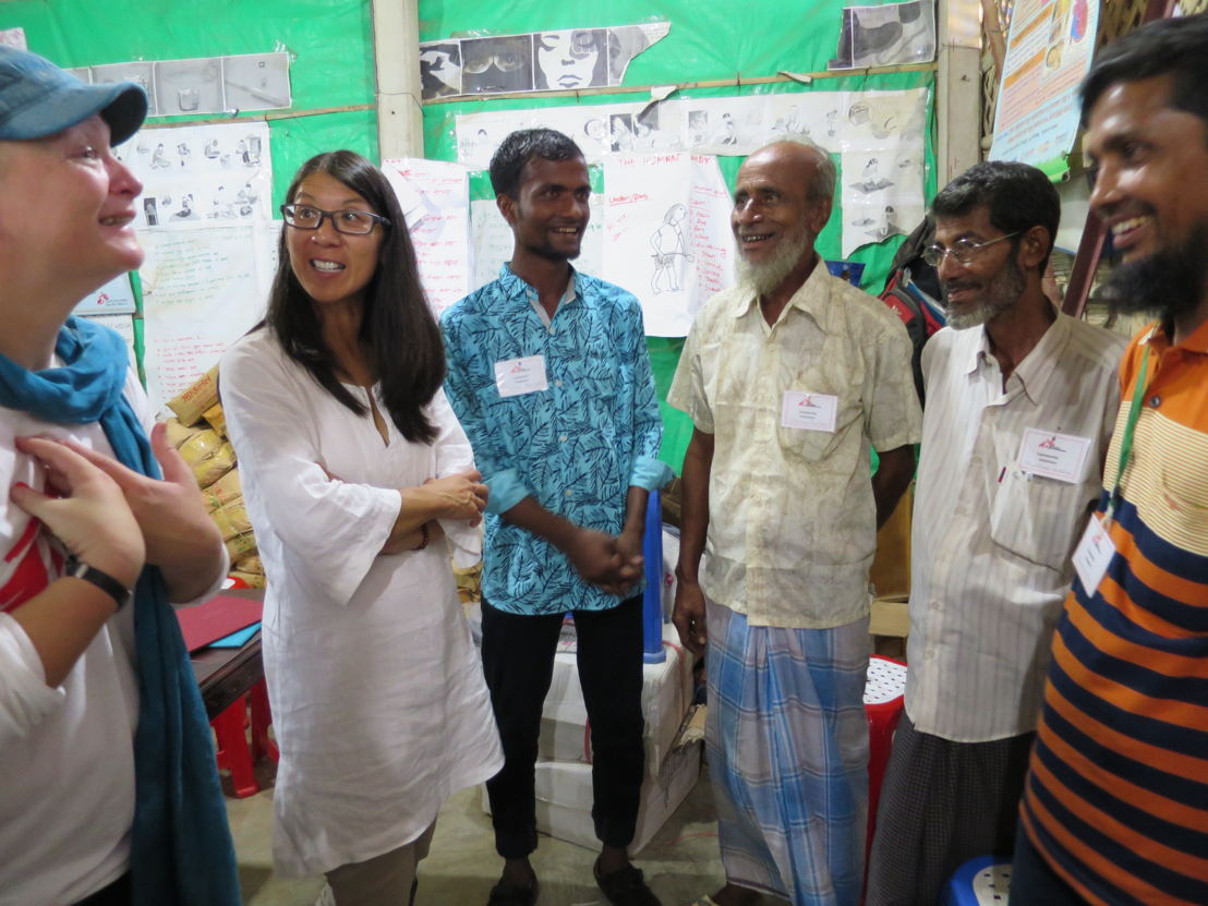 Manager Karline Kleijer and MSF President Joanne Liu meet with former MSF Myanmar staff who fled from recent violence in Rakhine State, Myanmar, to Cox's Bazar, Bangladesh. Photographer: Amelia Freelander