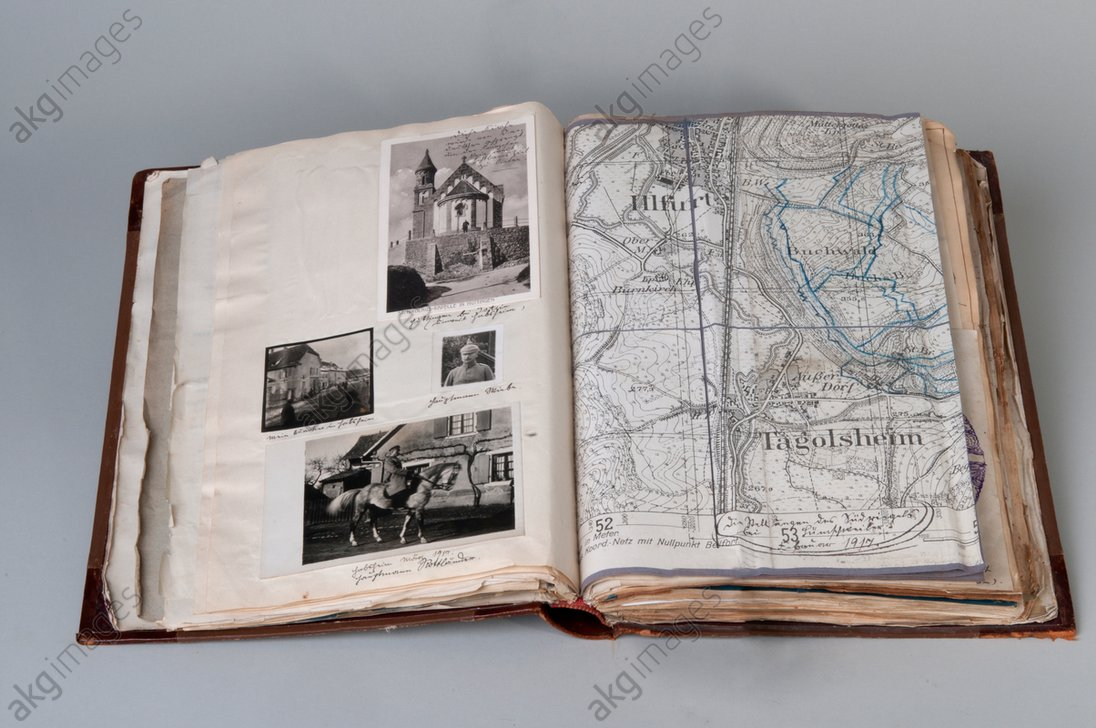 """History of Reinforcement Battalion 161"" (album collected together by a Captain Rottländer, 1917): double page with photographs and map. AKG1673824"