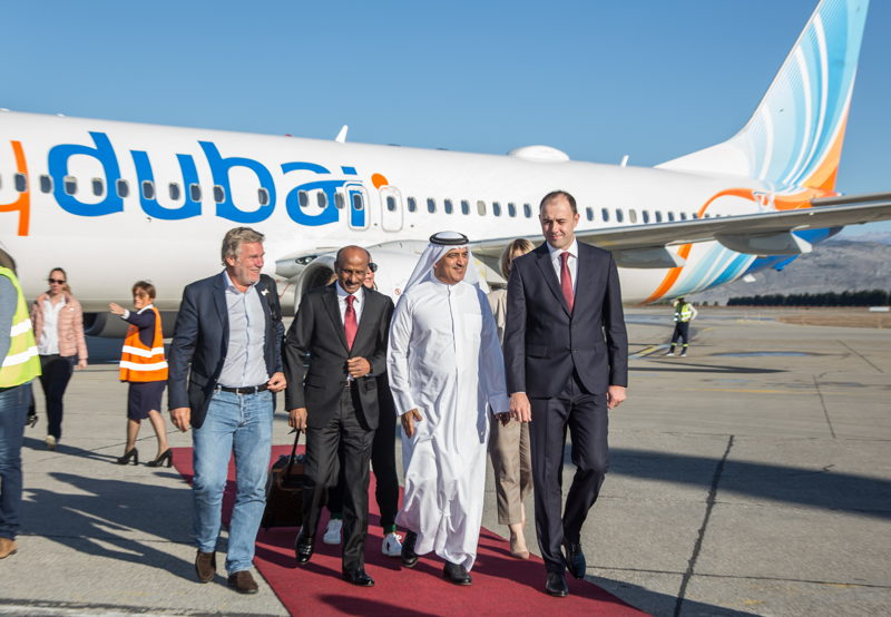 From left to right: H.E Darko Uskokovic, Ambassador of Montenegro in Abu Dhabi, H.E. Abdulsalam Hareb Alromaithi, the UAE Ambassador to Montenegro, Ghaith Al Ghaith, Chief Executive Officer of flydubai, Danilo Orlandic, CEO of Montenegro Airports.