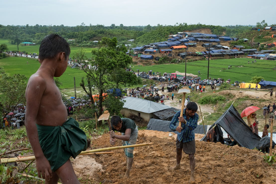 More than 422,000 Rohingya have fled to Bangladesh from Rakhine State in Myanmar following an escalation in violence on 25 August. The most recent wave of Rohingya refugees has added to the hundreds of thousands of Rohingya who fled across the border in previous years. Most of the newly arrived refugees have moved into makeshift settlements without adequate access to shelter, food, clean water, or latrines. With little potable water available, people are drinking water collected from paddy fields, puddles, or hand-dug shallow wells which are often contaminated with excreta. At MSF's clinic in Kutupalong, 487 patients were treated for diarrhoeal diseases between 6 and 17 September. Food security in and around the settlements is also incredibly fragile: newly arrived refugees are completely reliant on humanitarian aid, prices in the market are skyrocketing and the lack of roads is compromising access to the most vulnerable populations. A massive scale-up of humanitarian assistance in Bangladesh is needed to aid the Rohingya refugees and avert a wider public health disaster. Photographer: Antonio Faccilongo