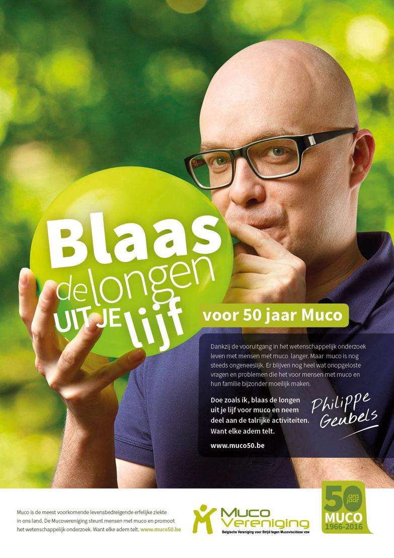 Philippe Geubels blaast de longen uit zijn lijf voor 50 jaar Mucovereniging