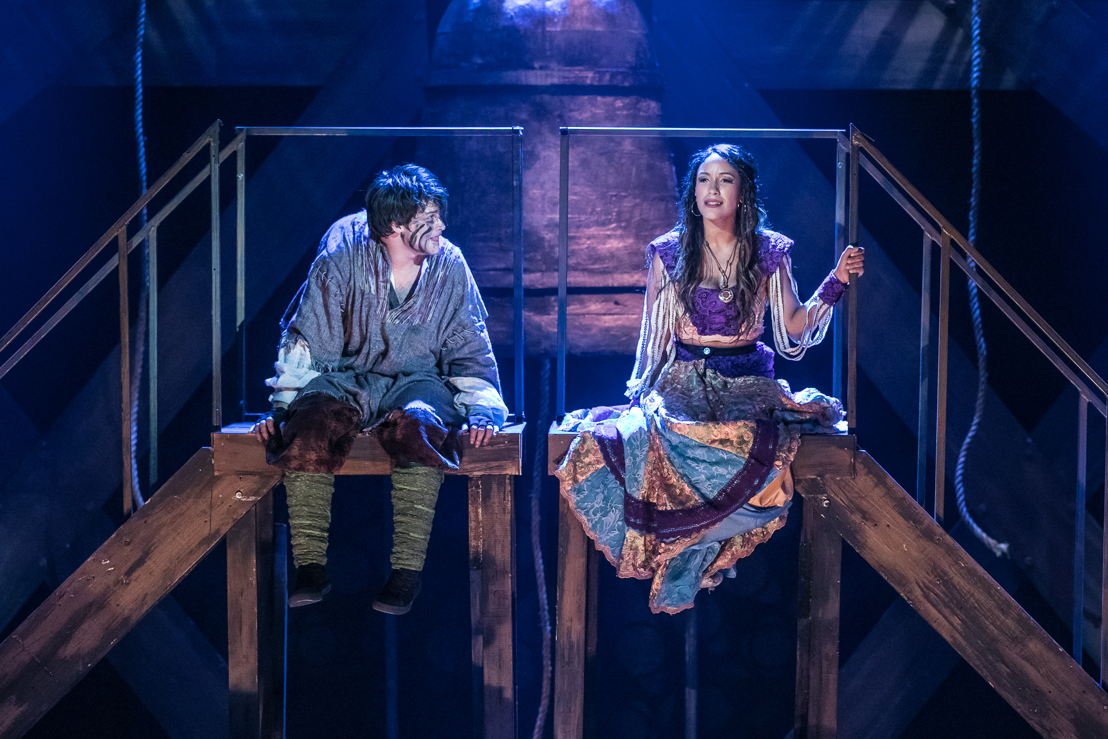 Haden Rider as Quasimodo and Julissa Sabino as Esmeralda in HUNCHBACK. Photo by Daniel Parvis.