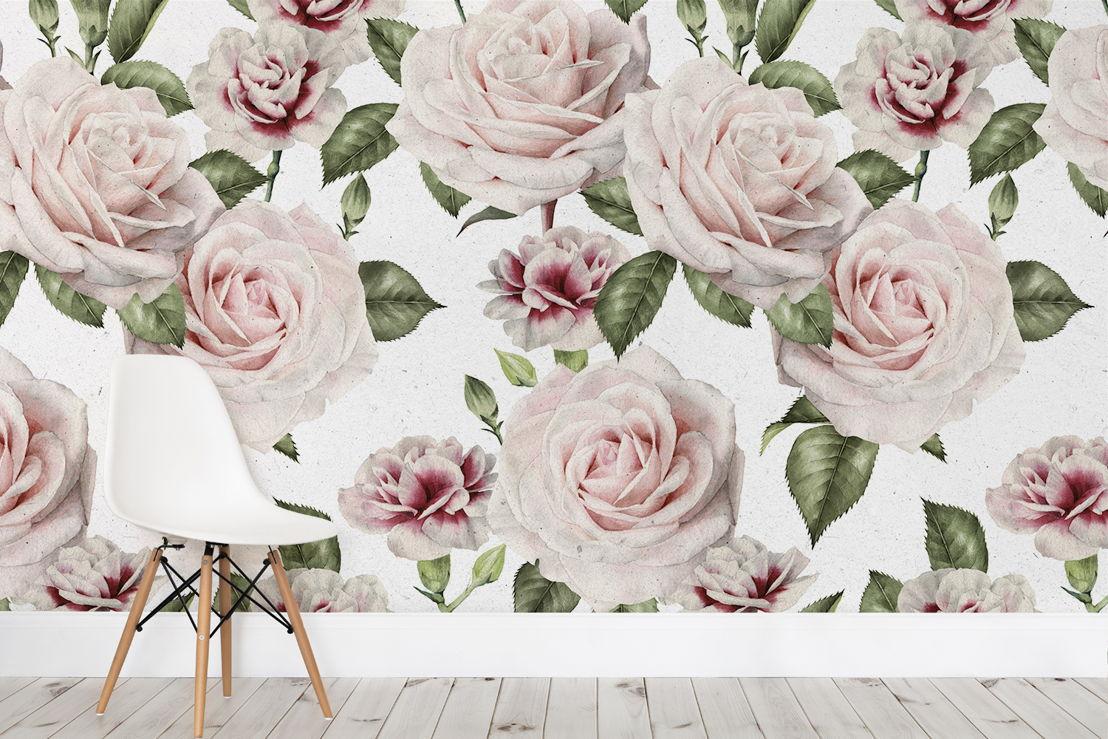 Vintage Rose & Carnations Print