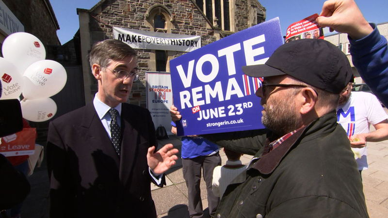 Leaver campaigner Jacob Rees-Mogg confronts opponents