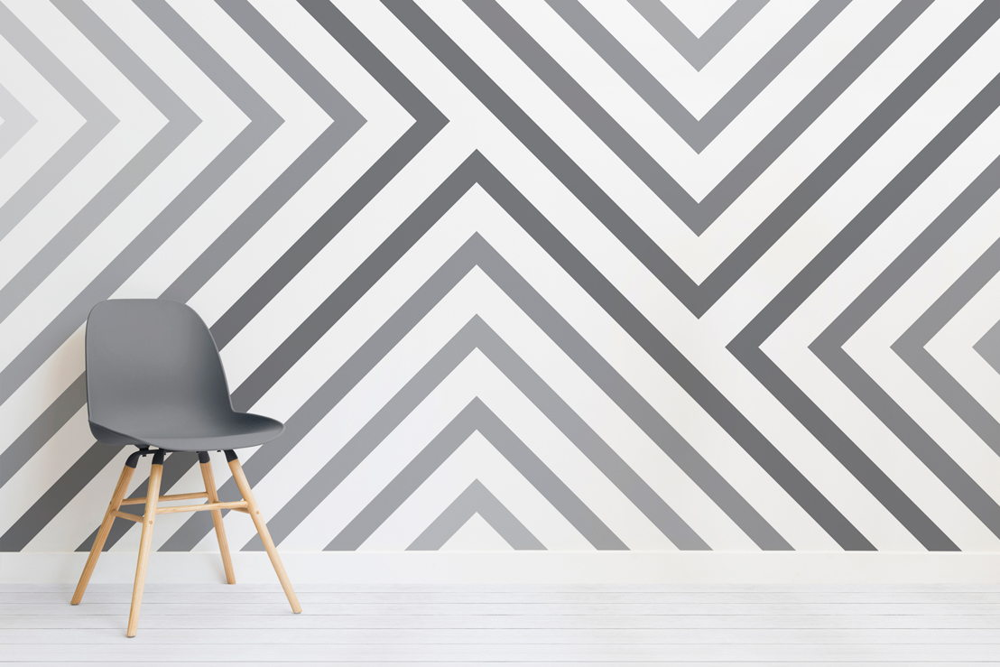 Cypress Grey Striped Mural - Chair