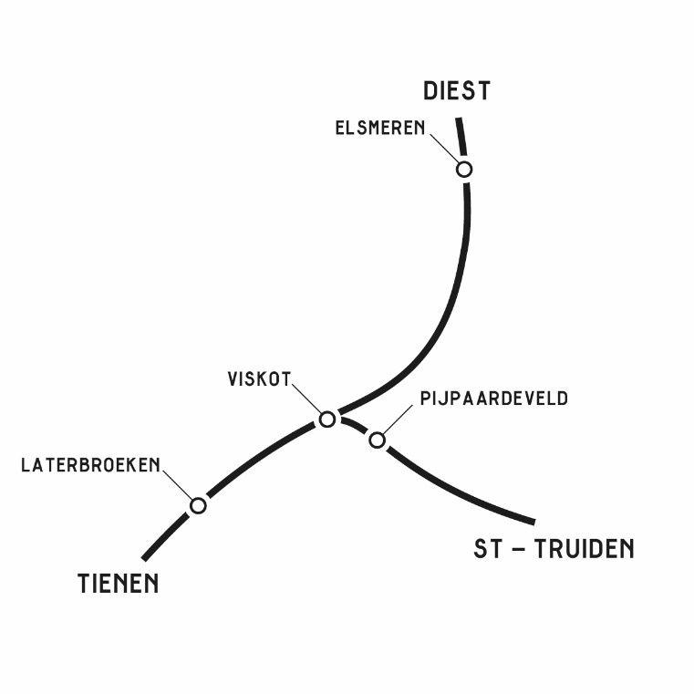 De ligging van de vier landschapsperrons in Tiene, Zoutleeuw, Linter en Geetbets