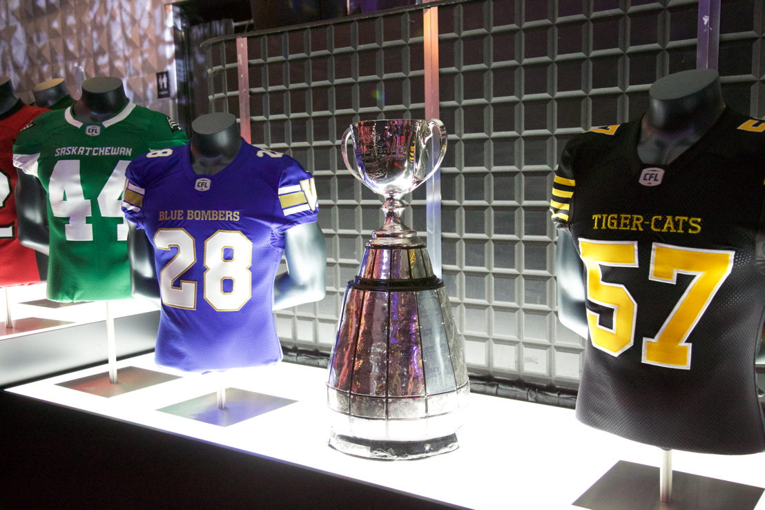The Grey Cup on display at the Montreal event. (Photo: Katya Koroscil)