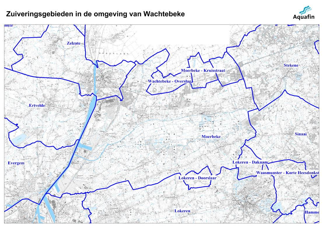 Waar wordt mijn afvalwater gezuiverd: zuiveringsgebieden in de omgeving van Wachtebeke.
