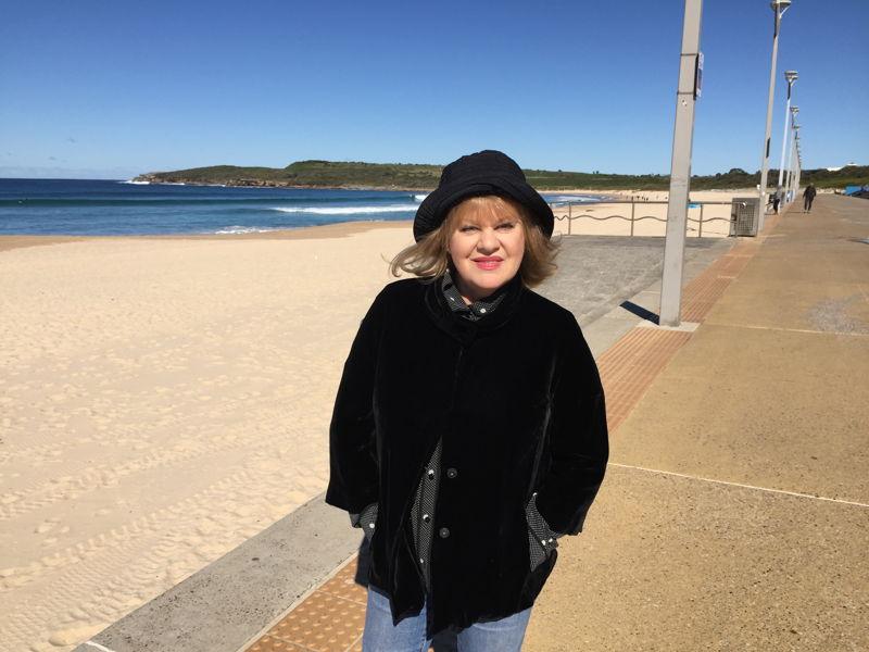 Patricia Amphlett on beach. Photo Rebecca Baillie.