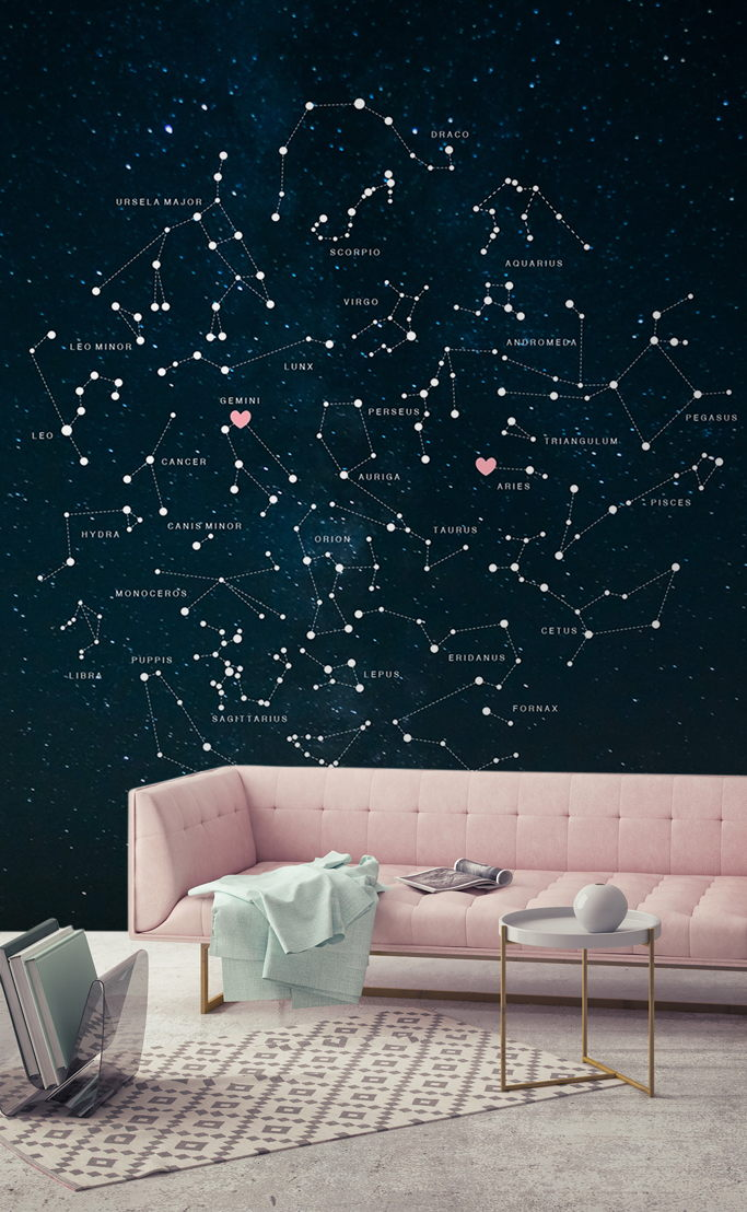 Valentines Constellations Mural - Styled