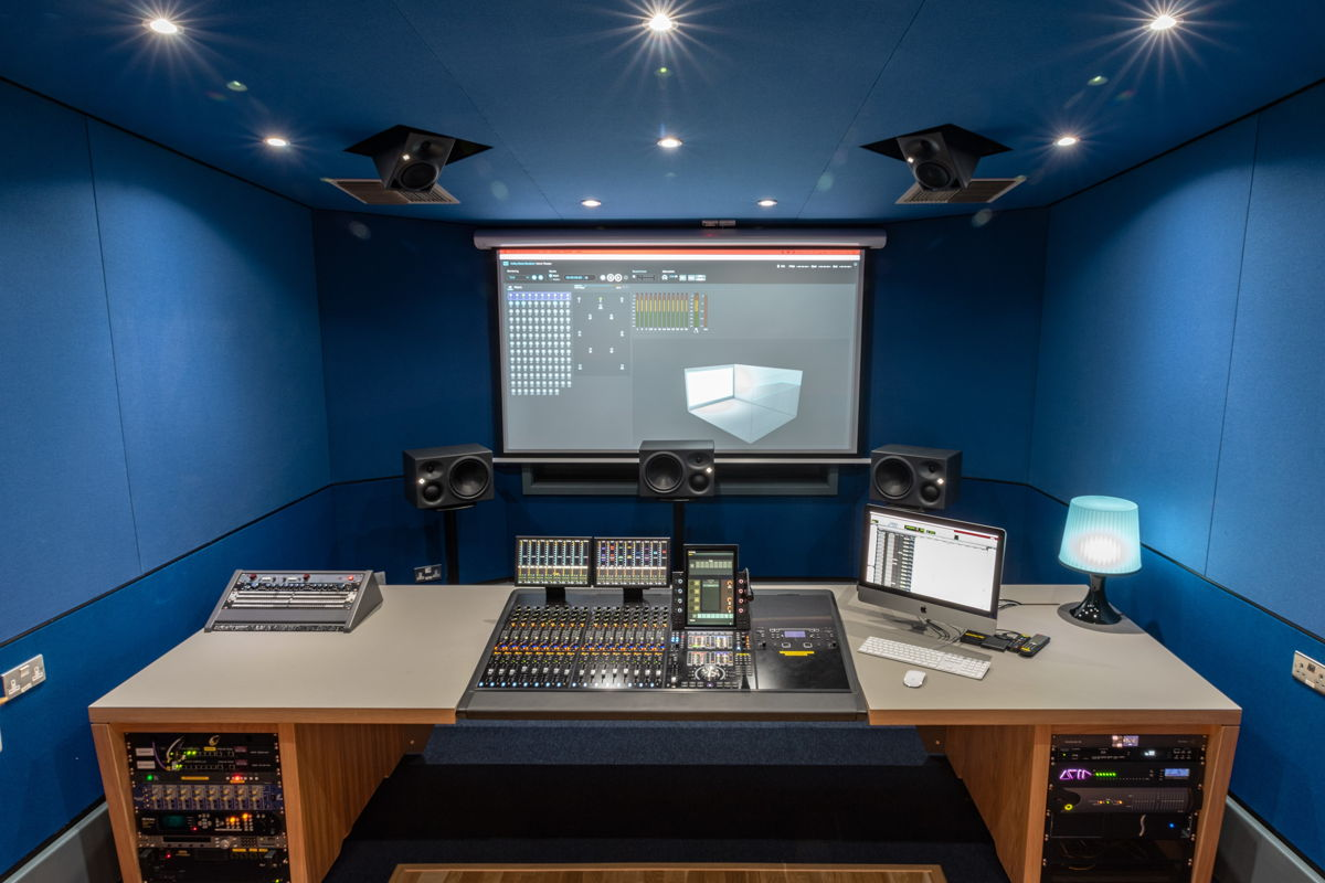 LIPA's 7.1.4 Atmos Home Entertainment studio with Neumann monitors