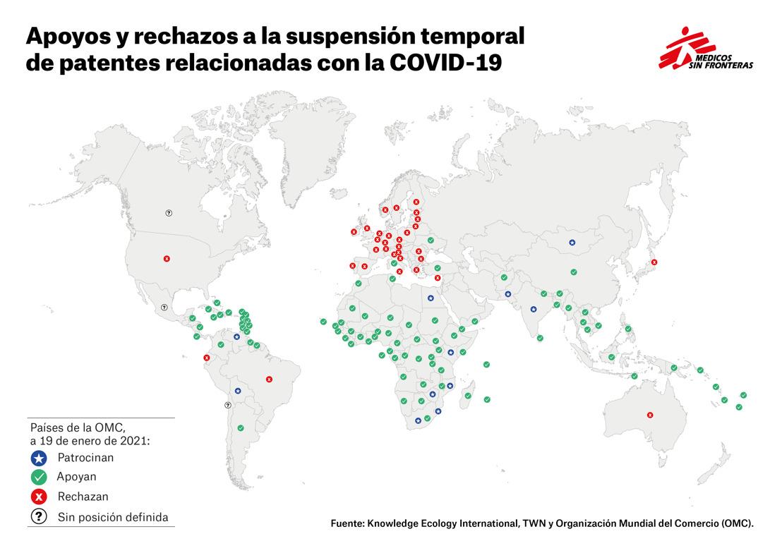 Médicos Sin Fronteras y Salud por Derecho piden al Gobierno español que apoye la suspensión de patentes COVID-19 para incrementar la producción de vacunas con la entrada de más fabricantes