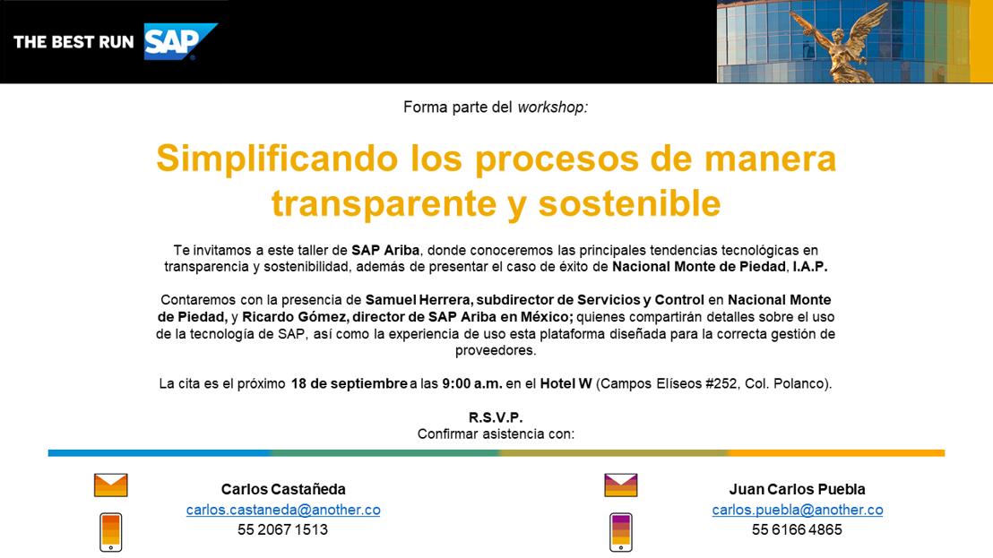 """INVITACIÓN: Workshop """"Simplificando los procesos de manera transparente y sostenible"""""""