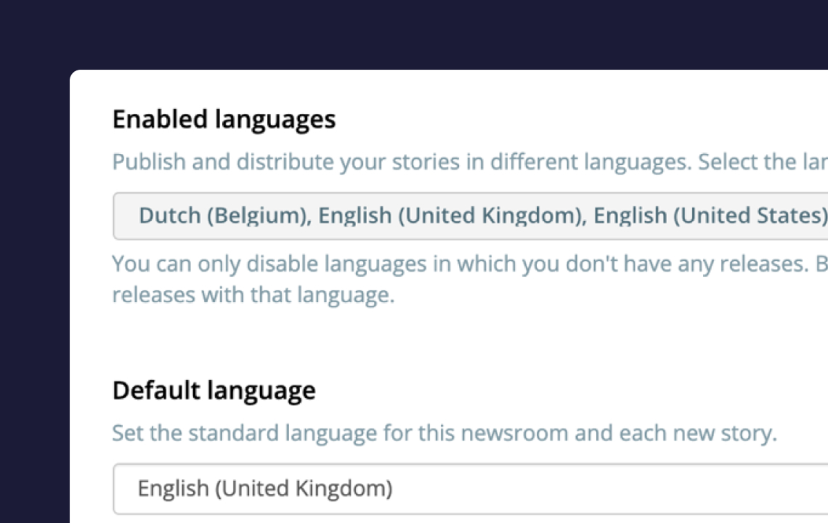 Create Newsrooms with multiple languages