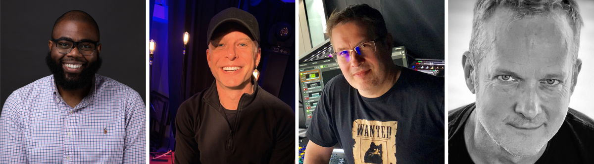 """Brandon Blackwell, Brett """"Scoop"""" Blanden, Snake Newton and Phillip J. Harvey (from left to right) will answer your questions on FOH during the """"Mixing Live Sound – Front of House"""" roundtable on April 14"""
