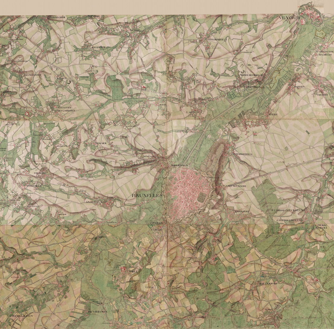 Carte de Cabinet de Ferraris<br/>L'impératrice Marie-Thérèse décida en 1759 de faire dresser une carte des Pays-Bas autrichiens. C'est le comte Joseph de Ferraris (1726-1814) qui se vit désigner à la tête du projet. Tout fut mis en œuvre pour la réalisation d'une carte la plus exacte possible, reprenant avec le plus grand soin les moindres détails géographiques des régions concernées. Composée en 1778, cette carte - sans doute l'un des plus importants documents scientifiques de l'histoire cartographique des Pays-Bas - est la première à représenter la totalité du territoire belge. Composée de 275 feuillets, elle couvre une surface totale de plus de 300 m².<br/>Consultez la carte complète en ligne http://www.kbr.be/collections/cart_plan/ferraris/ferraris_fr.html